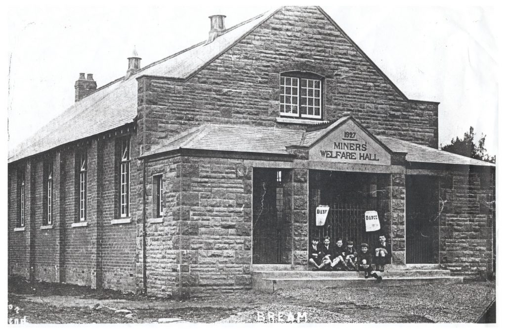 A photo showing Bream Miners Welfare Hall in 1927