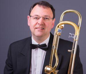 A photo of top trombonist Brett Baker