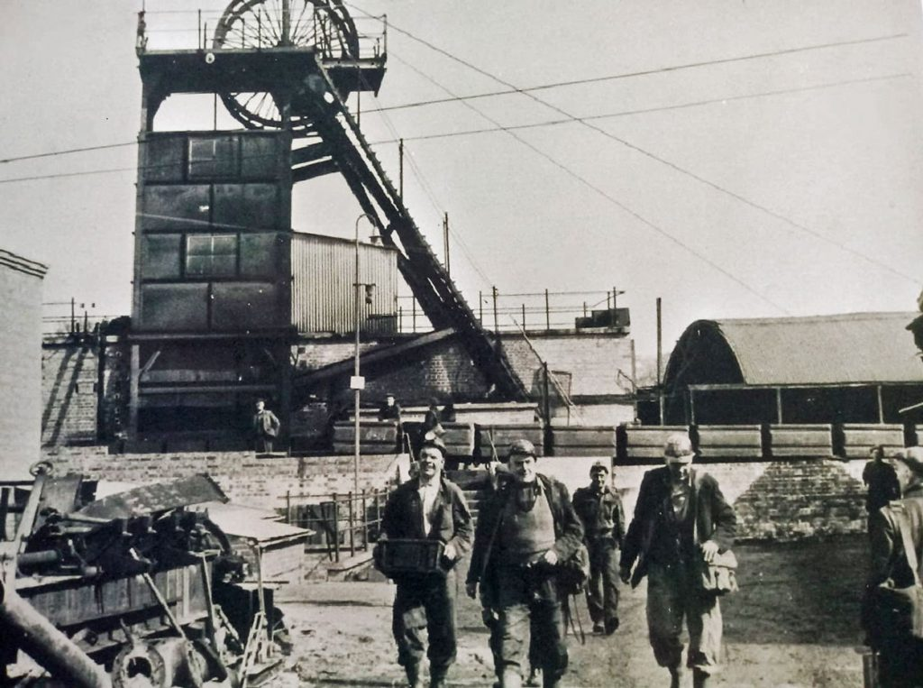 A photo of miners afetr the last shift at Princess Royal Colliery