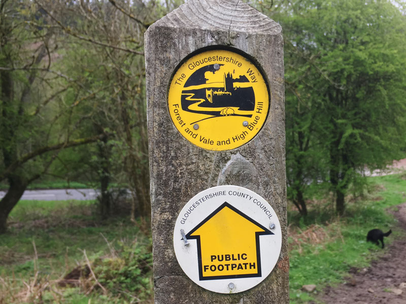 A photo of a Gloucestershire Way footpath sign