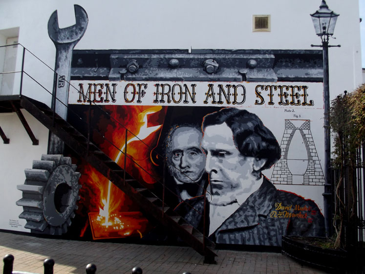 A photo of a mural of David and Robert Mushett