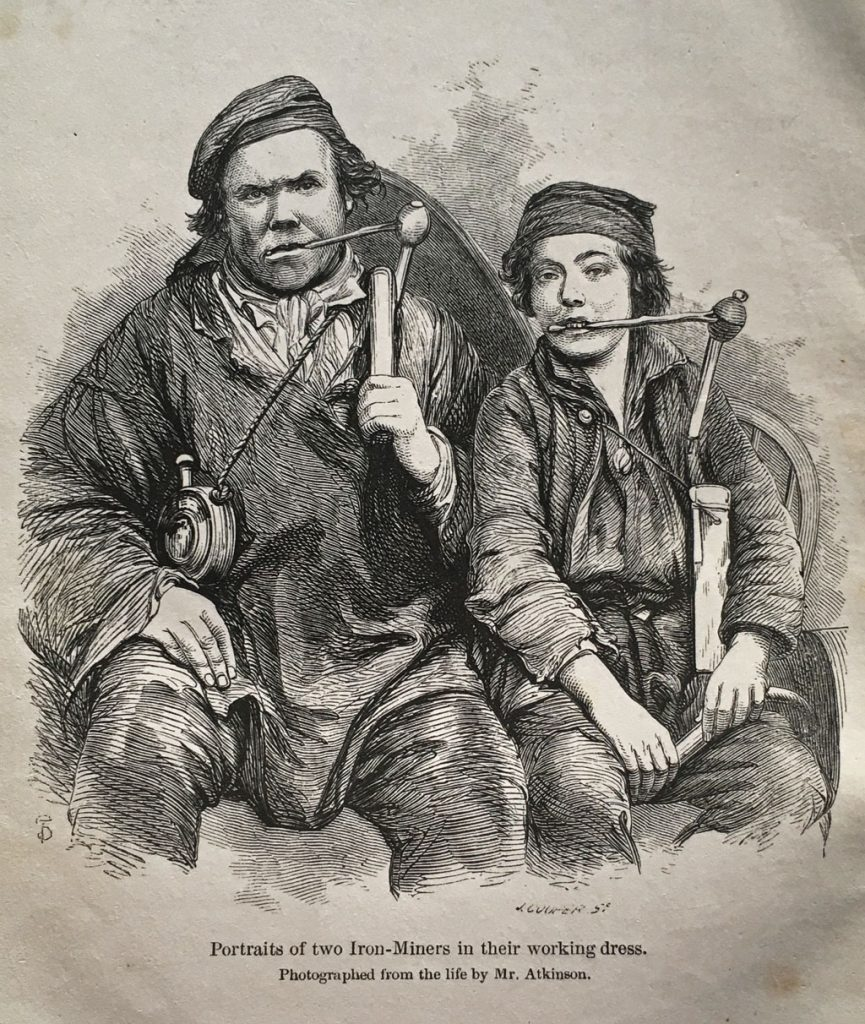 An image of two iron miners from Nichloos (1858)