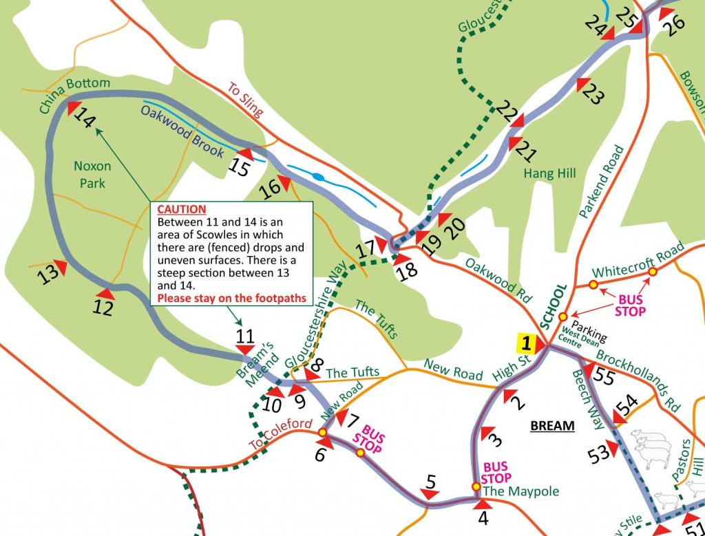 A map showing Bream Heritage Walk - points 1 - 17