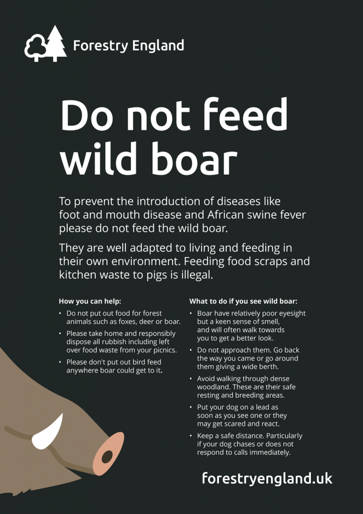 A poster re. do not feed the wild boar.