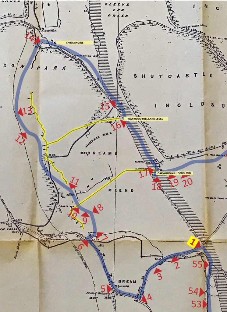 An annoted image showing Sopwith's Map of 1835 and Bream Heritage Walk route.
