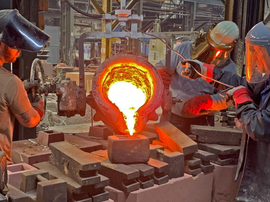 A photo of the new chairs being cast at the foundry.