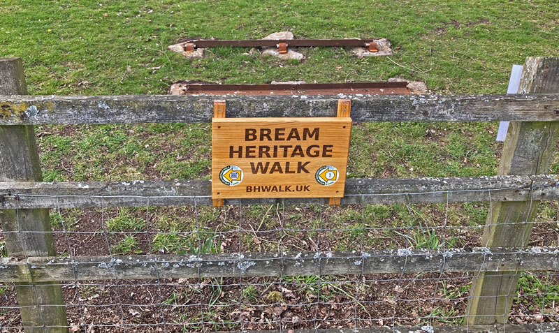 A photo of the Bream Heritage Walk sign
