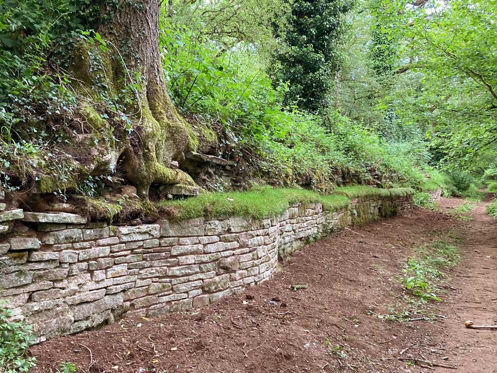 A photo showing tramroad wall repairs